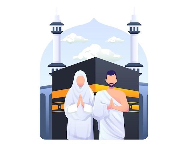 Pareja musulmana está haciendo ilustración de peregrinación islámica hajj