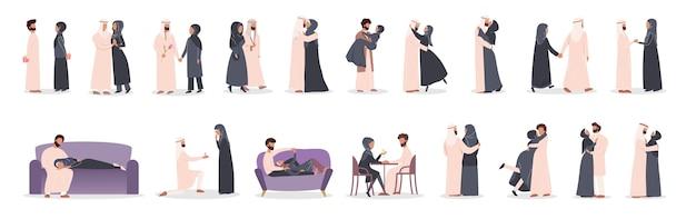 Pareja musulmana moderna en conjunto de actividades diferentes. la mujer y el hombre árabes están enamorados. amantes que pasan tiempo juntos.
