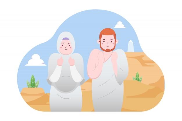 Pareja musulmana rezando en la ilustración de arafat
