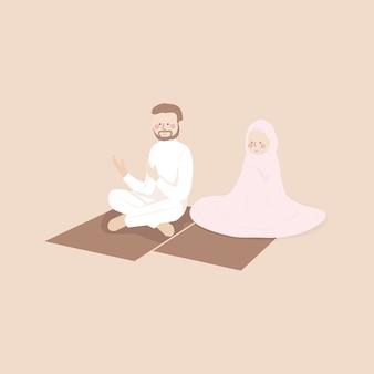 Pareja musulmana rezando juntos en jamaah en la alfombra de oración