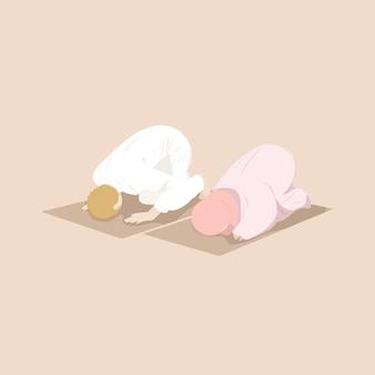 Pareja musulmana rezando juntos en posición sujud en la alfombra de oración