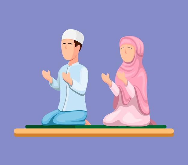 Pareja musulmana sentada y rezando. islam, religión, gente, en, caricatura, ilustración