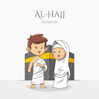 Pareja musulmana usa ihram frente a la meca de kaaba durante el hayy