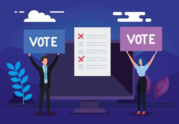 Pareja de negocios con computadora para votar en línea