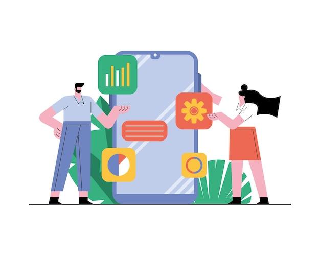 Pareja de negocios con ilustración de iconos de tecnología de teléfono inteligente