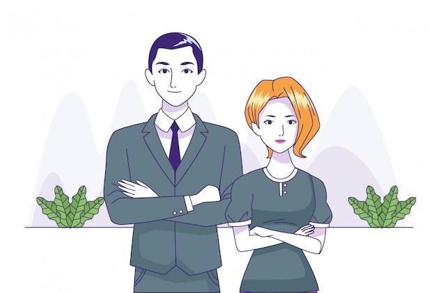 Pareja de negocios de pie sobre plantas decorativas y fondo blanco, ilustración vectorial
