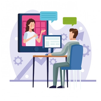Pareja de negocios en reunión reunión en línea