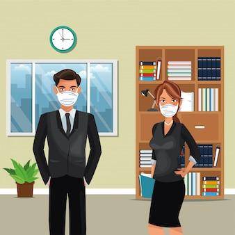 Pareja de negocios trabajando y con máscara médica