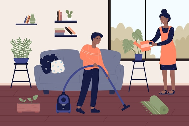 Pareja de negros afroamericanos limpiando casa casa habitación