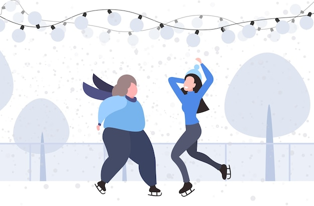 Pareja de niñas en la pista de patinaje sobre hielo feliz navidad año nuevo vacaciones concepto mujeres gordas y delgadas pasar tiempo juntos paisaje invernal ilustración vectorial horizontal de longitud completa