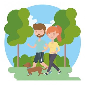 Pareja de niño y niña con perro