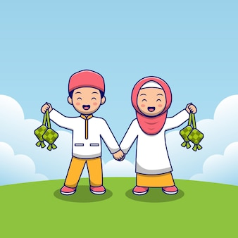 Pareja de niños musulmanes sosteniendo ketupat