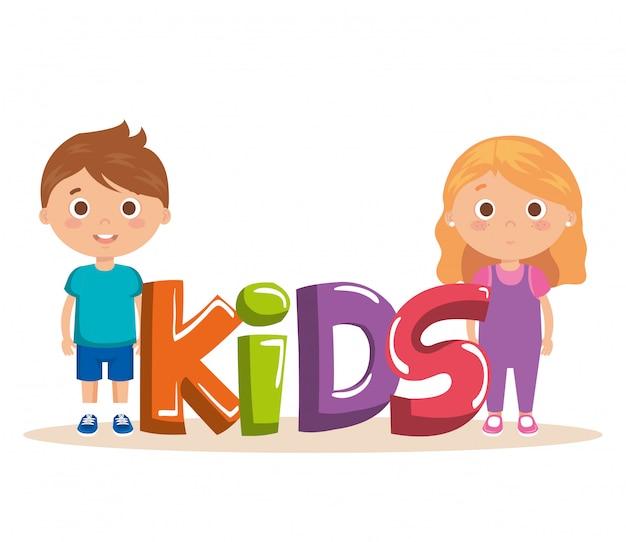 Pareja de niños pequeños con caracteres de palabras