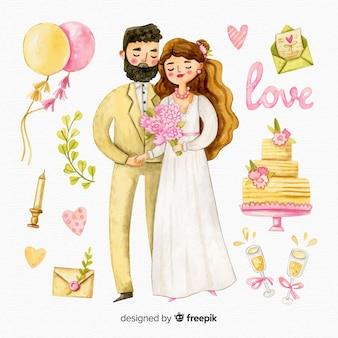 Pareja de novios de boda con adornos en acuarela