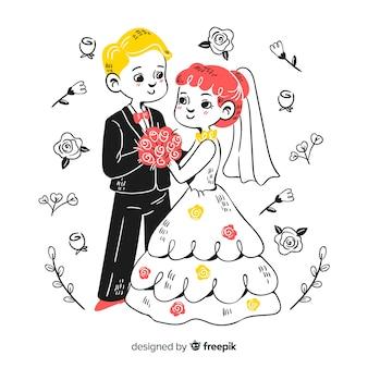 Pareja de novios de boda con adornos dibujados a mano