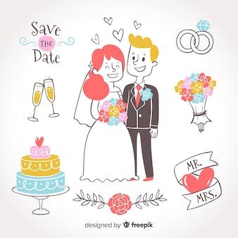 Pareja de novios de boda dibujados a mano con adornos