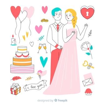 Pareja de novios de boda dibujados a mano con elementos