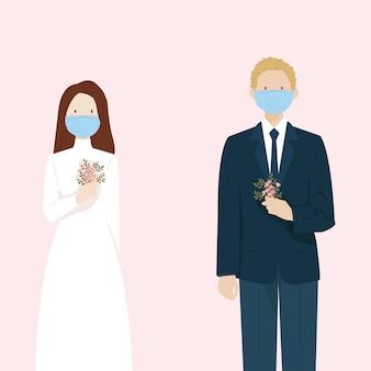 Pareja de novios contraer matrimonio con máscara durante la pandemia