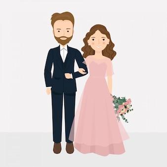 Pareja de novios de dibujos animados con ilustración de vestido de novia de desgaste de mano