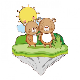 Pareja oso animal en la isla flotante