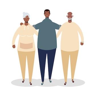 Pareja de padres ancianos afro con personajes de hombre