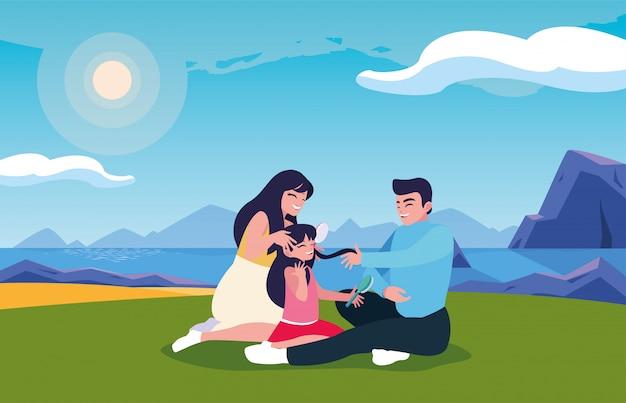 Pareja de padres e hija con paisaje de fondo
