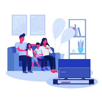 Pareja de padres, niño y niña mirando televisión