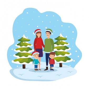 Pareja de padres con niños y ropa de invierno en paisaje nevado.