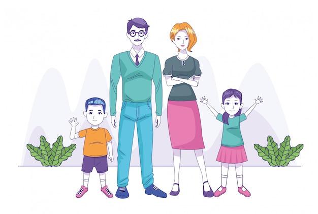 Pareja de padres con personajes familiares de hijo e hija