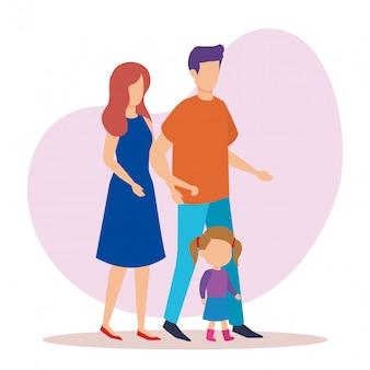 Pareja de padres con personajes de hija