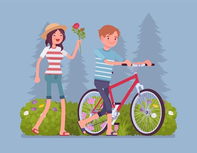Pareja en el parque dos personas en una relación amorosa en la cita al aire libre, disfrutan del buen clima y de las actividades al aire libre en el parque verde de verano, se divierten. ilustración de dibujos animados de estilo