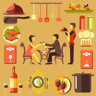 Pareja pasar tiempo en el restaurante y camarero cerca