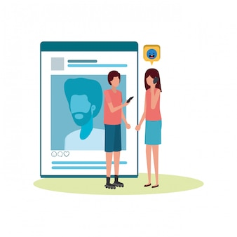 Pareja con perfil de red social personaje de avatar