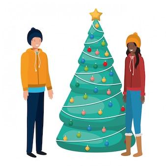 Pareja con personaje de avatar de árbol de navidad