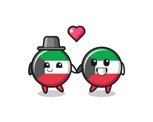 Pareja de personaje de dibujos animados de insignia de bandera de kuwait con gesto de enamorarse, diseño lindo