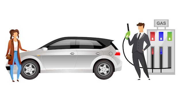 Pareja en personajes sin rostro de color plano de la gasolinera marido y mujer repostando el coche con gasolina ilustración de dibujos animados aislados para diseño gráfico web y animación personas en la gasolinera