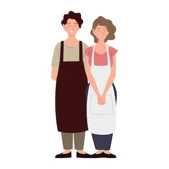 Pareja de personajes vendedores vistiendo delantal ilustración