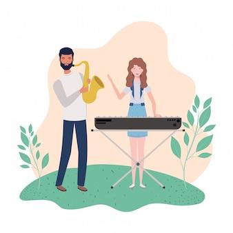 Pareja de personas con instrumentos musicales y paisaje.