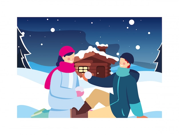 Pareja de personas con paisaje invernal y casa familiar