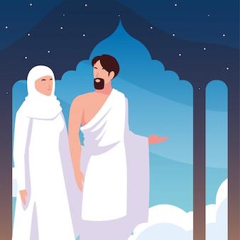 Pareja de personas peregrinos hajj, día de dhul hijjah