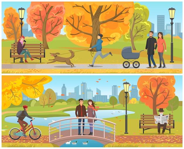 Pareja de pie en el puente de otoño parque set vector
