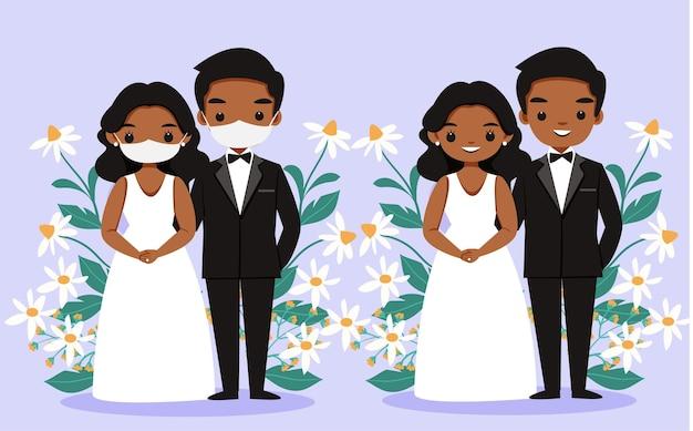 Pareja de piel negra en vestido de novia con mascarilla y sin dibujos animados de mascarilla
