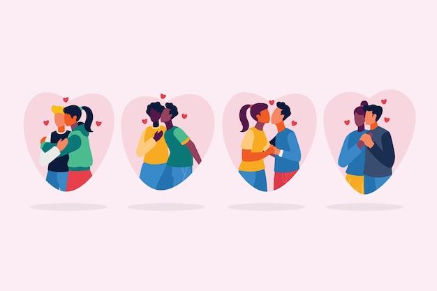 Pareja plana besándose conjunto ilustración