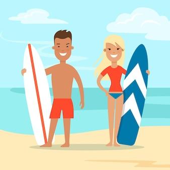 Pareja plana con tabla de surf en la ilustración de vector de fondo de naturaleza de playa de mar concepto de vacaciones