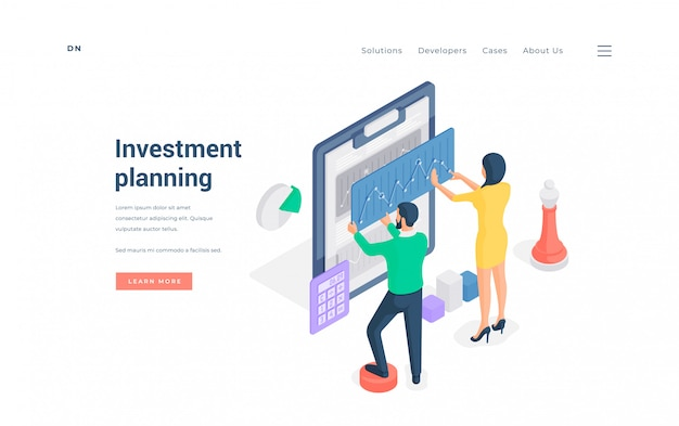 Pareja planeando inversiones financieras juntos ilustración isométrica