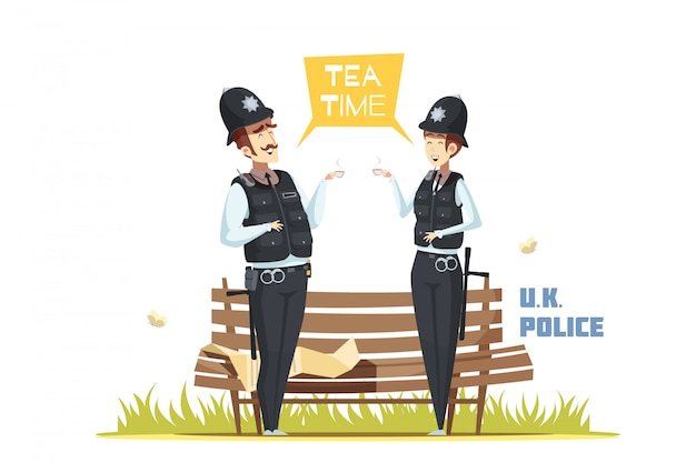 Pareja de policías masculinos y femeninos