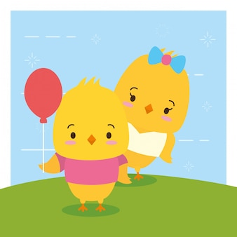 Pareja de pollitos, animales lindos, estilo plano y de dibujos animados, ilustración