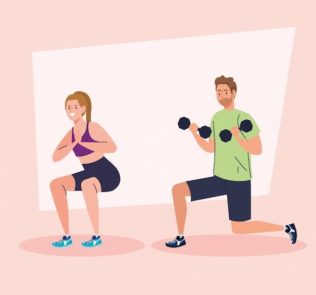 Pareja practicando ejercicio, concepto de recreación deportiva
