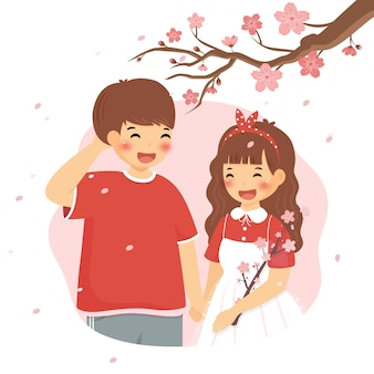 Pareja de primavera de flor de cerezo