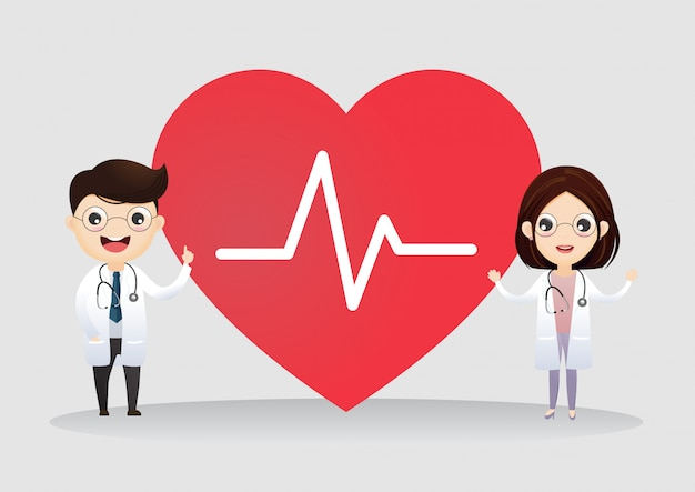 Pareja de profesionales médicos con cardio corazón.